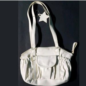 Claire's Womens  Faux Leather Handbag Purse White